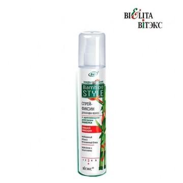 Спрей-фиксин для укладки волос с укрепляющим действием бамбука сильной фиксации